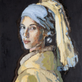 Zayaan Kahn with a Pearl Earring, oil on board, 80x60cm