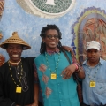Madi Phala  - Raphael Chikukwa, Madi Phala and Velile Soha outside Gugs'thebe Arts Centre, Langa,Cape Town.