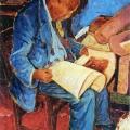 Mandla Vanyaza  - Mandla Vanyaza looking at graphic prints [Portrait of Gerard Sekoto]