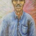<em>Self Portrait</em>. Crayon on paper, 160 x 100 cm