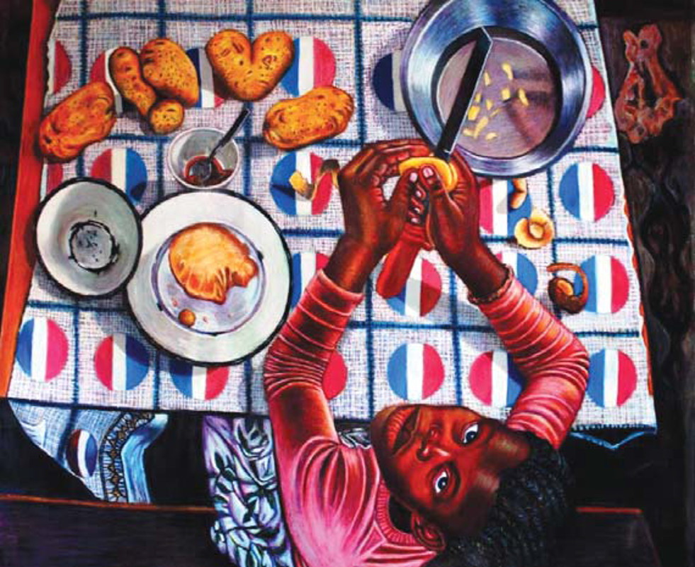 Nomthandazo peeling potatoes, 2013. Oil pastel on brown paper. 112 x 152 cm