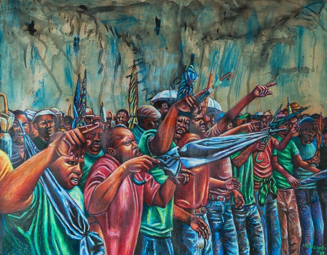 Voices at Marikana, 2014. Oil pastel on paper