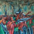 Voices at Marikana, 2014. Oil pastel on paper