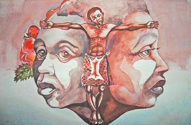 Muziwakhe Nhlabatsi - Untitled (Man between two heads)