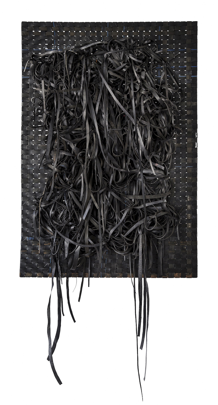 <em>Resistance II</em>. 2017. Woven recycled rubber. 120x80cm