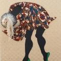 <em>Madness</em>. 2017. Hessian, African fabric, twine & acrylic. 160x150cm