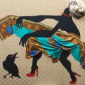 <em>Vent d'Oest</em>. Hessian, African fabric, twine & acrylic. 150x180cm