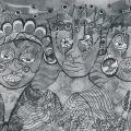 <em>Together we can... 3 little sisters</em>, 2005. Pen and ink on paper. 52,5 x 74 cm