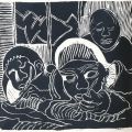 <em>The classroom wrangle III</em>, 1989. Linocut. 29 x 30,9 cm