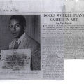 Newspaper clipping - Docks worker plans career in art - June 1952