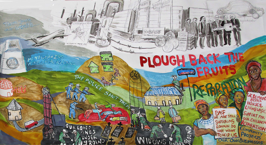 Plough back the Fruits, 2016. Acrylic on Tyvec (Sketch for mural - Marikana Widows group)
