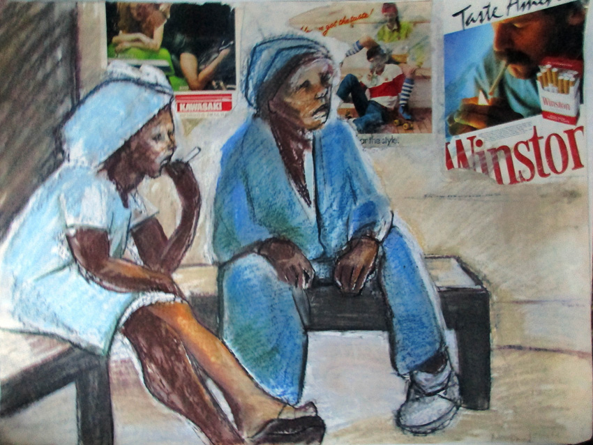 Bus stop, 1982. Pastel and collage