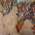 Soweto uprising, 1976. Pastel with newspaper (names of those killed in first week after June 16)