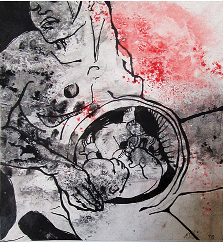 Pregnant (1), 1977. Ink powder with wash and pen