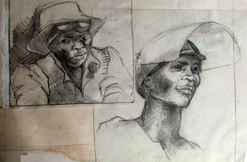 Workers, 1984. Pencil on paper