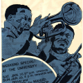 Jonas Gwangwa and Shakawe with Dennis Mpale, 1983. Silkscreen poster (for Medu Art Ensemble)