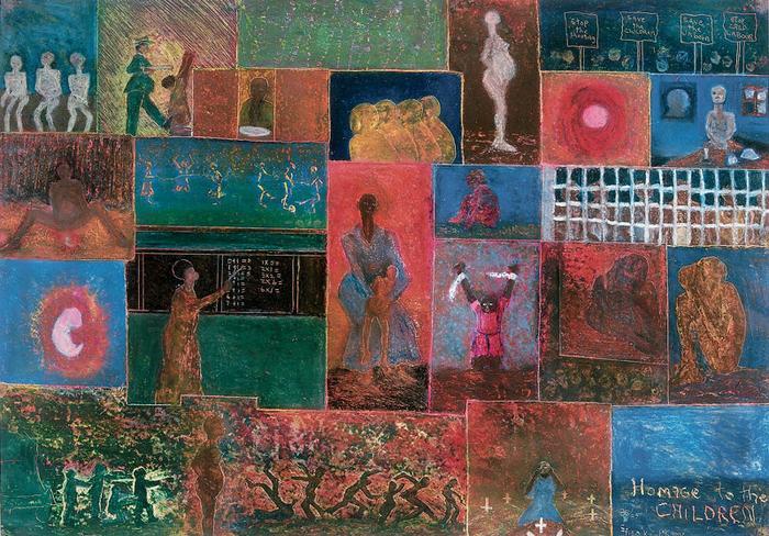 <em>Homage to the children</em>, 1986/7. Oil pastel on paper. 63 x 90 cm