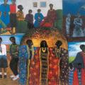 <em>Home sour home</em>. Oil pastel on paper, 74 x 109 cm