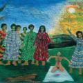 <em>No longer a child</em>, 1991. Oil pastel on paper. 65.5 x 100 cm