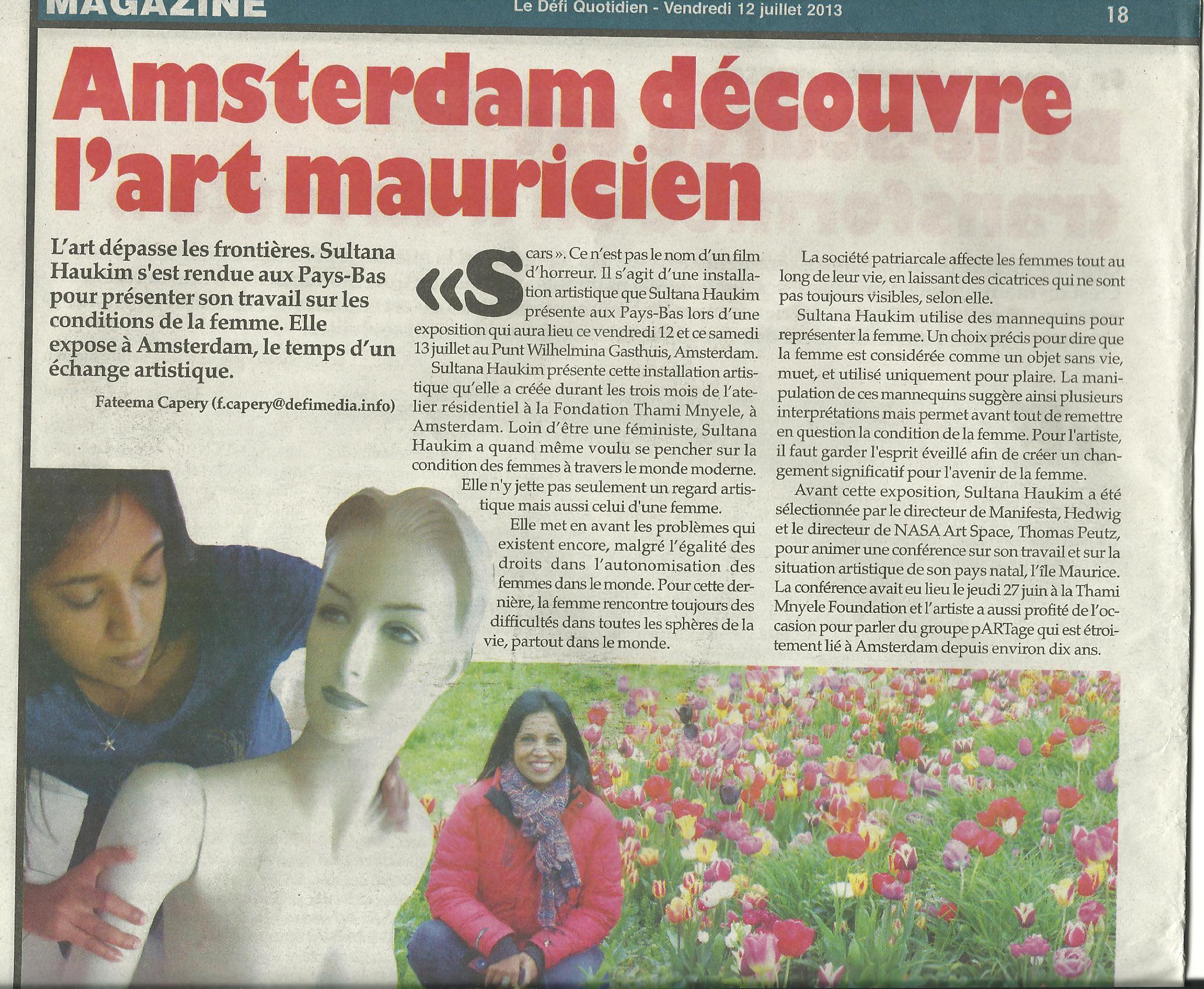 Le Defi Quodidien, 12 July 2013