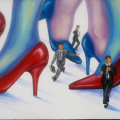 <em>A man's world</em>. 2011. Acrylic paint on canvas. 150x50cm