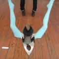<em>Where do we come from!</em>. 2013. Mannequin's legs & cut mirror. 80x100x100cm