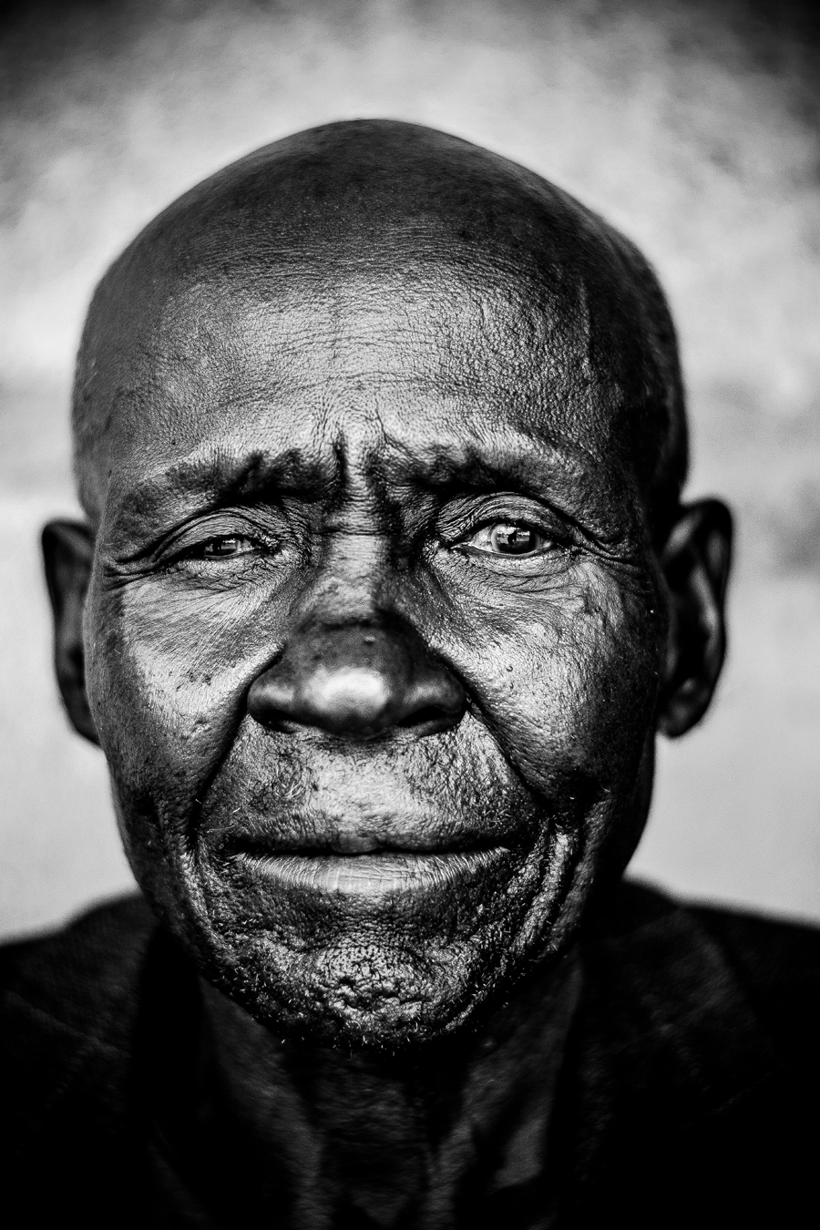 Old man portrait, shaved head, 2016