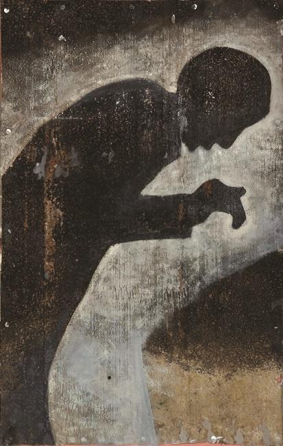<em>Prayer</em> from <em>The Black Painting</em> series, 2013. Acrylic on metal, 80 x 50 cm (Image courtesy of DAG)