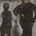 <em>Run Baby</em> from <em>The Black Painting</em> series, 2013. Acrylic on metal, 103.5 x 46.5 cm (Image courtesy of DAG)