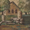 <em>Oscarsberg Primary School, Rorke's Drift</em>, 1982. Acrylic on silk, 46.5 x 30 cm (Image courtesy of DAG)