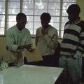 Sipho Hlati (left) and Mandla Nongogo (right), Visual Arts Group workshop, Zolani Centre, Nyanga East, 1992 (photo: MP)