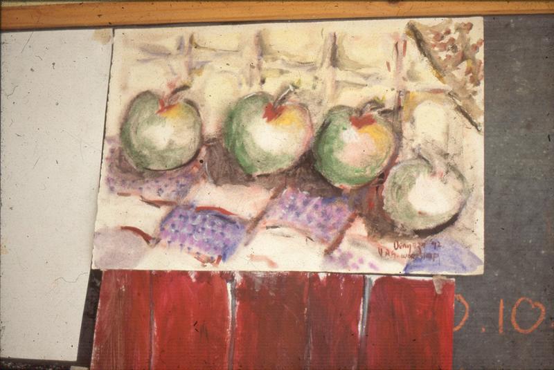 Painting by Mandla Vanyaza, Visual Arts Group workshop, Zolani Centre, Nyanga East, 1992 (photo: MP)