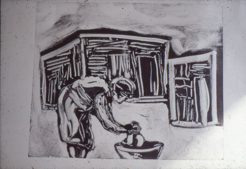 Sophie Peters monoprint, Visual Arts Group workshop, Zolani Centre, Nyanga East, 1992 (photo: MP)