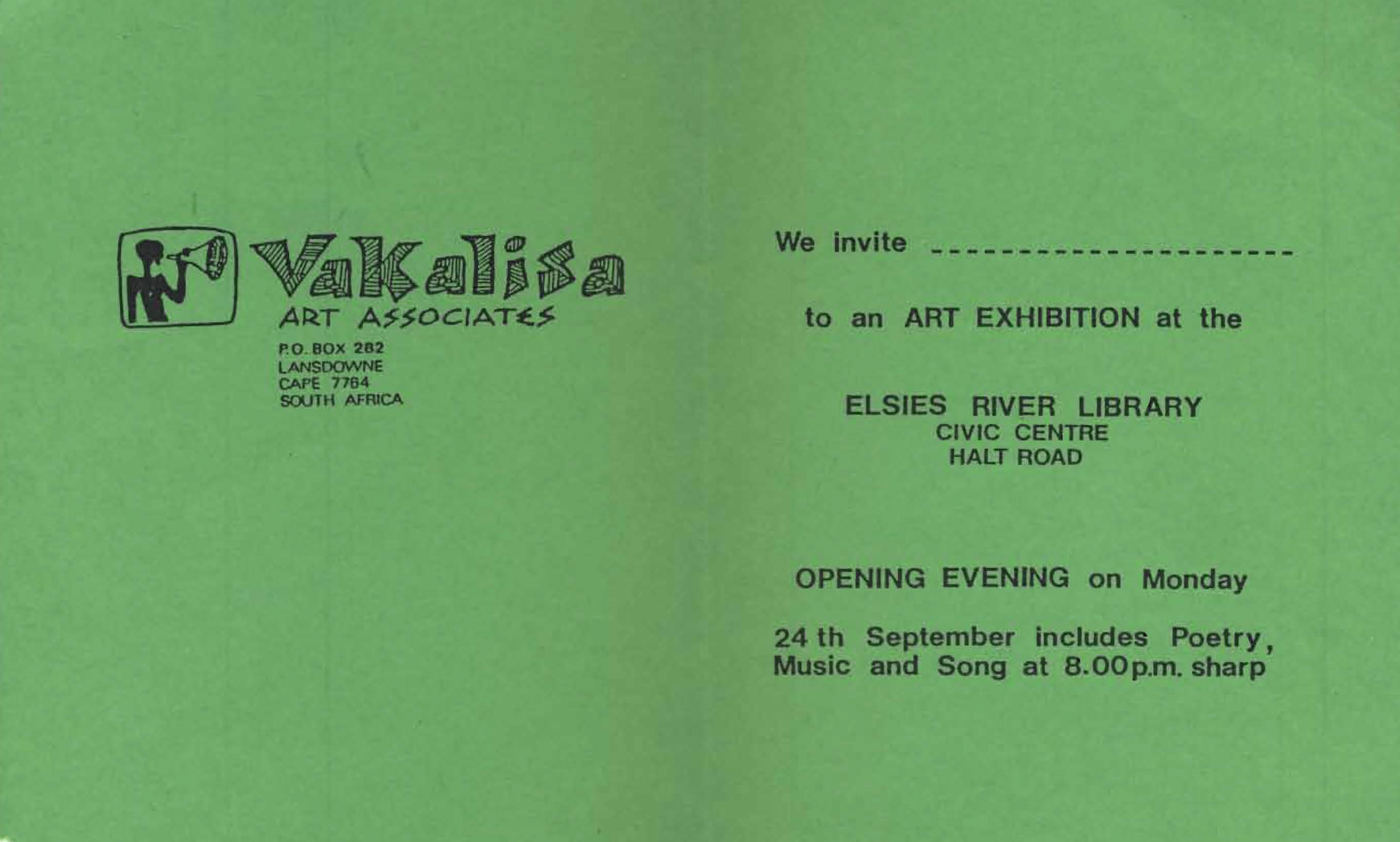Vakalisa - Elsies Exhibition Invitation
