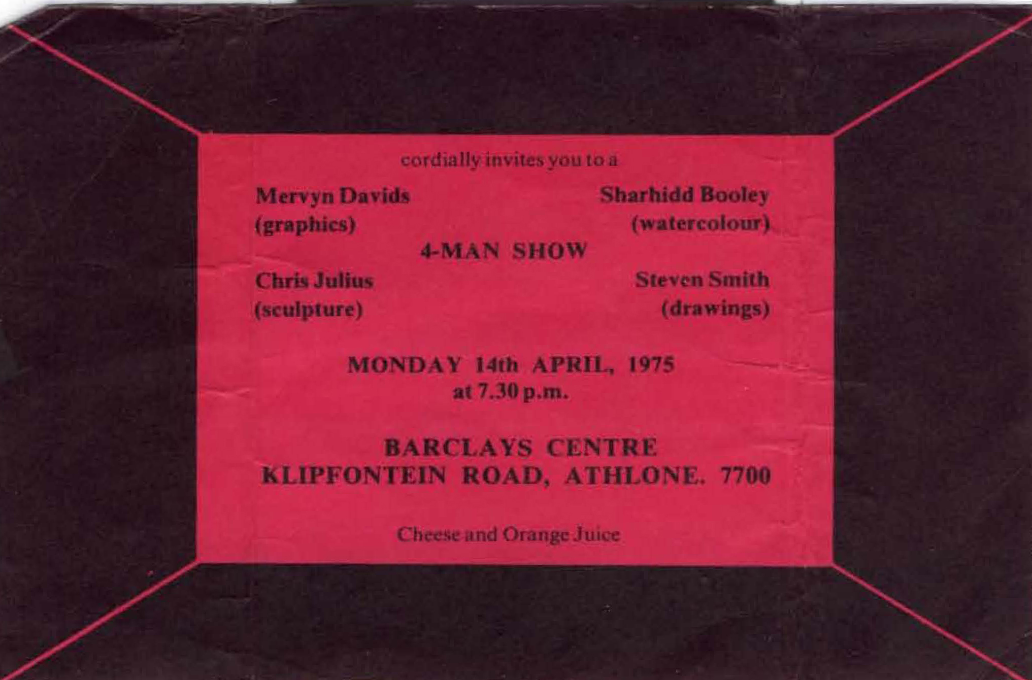 Vakalisa - Barclays Centre exhibition invitation (courtesy Mervyn Davids)