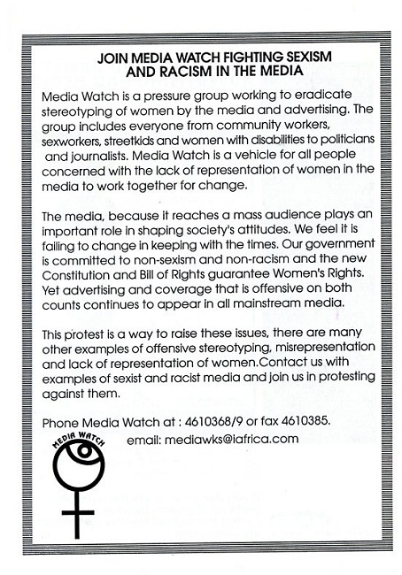 Women's Mediawatch pamphlet