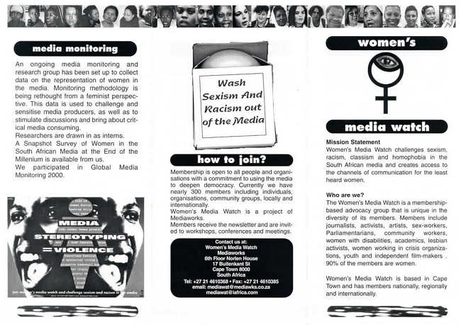 Women's Mediawatch Mission pamphlet, page 1