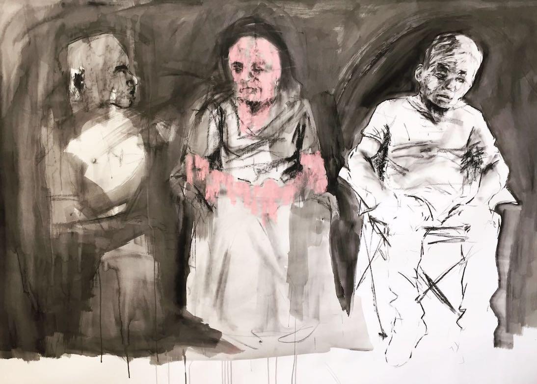 <em>Family conflict</em>, 2017. Mixed media on hand made paper, 200x150cm