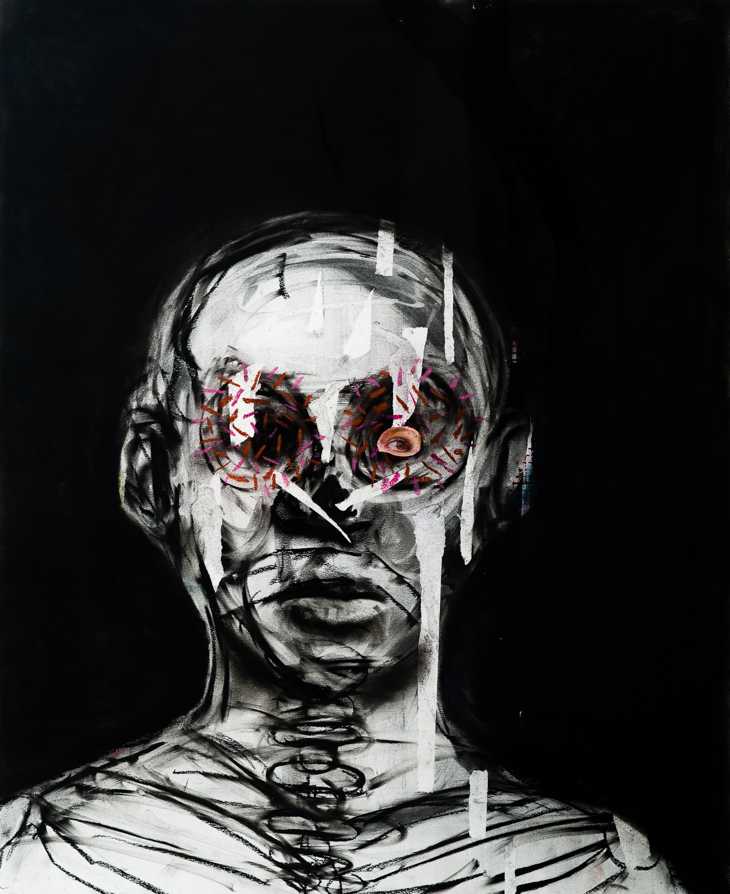 <em>I cant die I have death in me</em>, 2016. Mixed media on hand made paper, 100x75cm