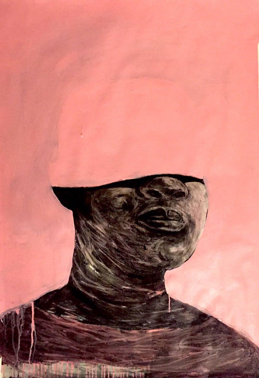<em>Pink helmet</em>, 2017. Mixed media on paper, 100x75cm