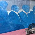 <em>Abaluhlaza (Blue faces)</em>, 2017. Mixed media on paper, 150x120cm