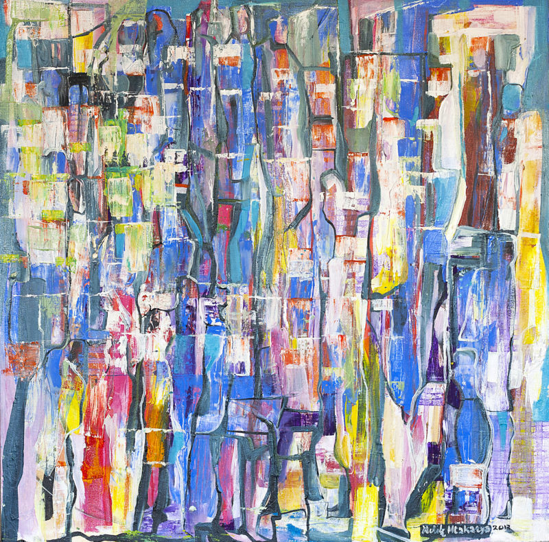 <em>Untitled abstract</em>. 2012. Oil on canvas. 100x100cm. Nando's Central Kitchen, Johannesburg