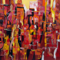 <em>Untitled abstract</em>. Oil on canvas. 120x120cm. Nando's South Africa