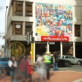 <em>Untitled abstract</em>. 2014. Scaled-up mural of original artwork. 7x9m. Nando's, Long Street, Cape Town
