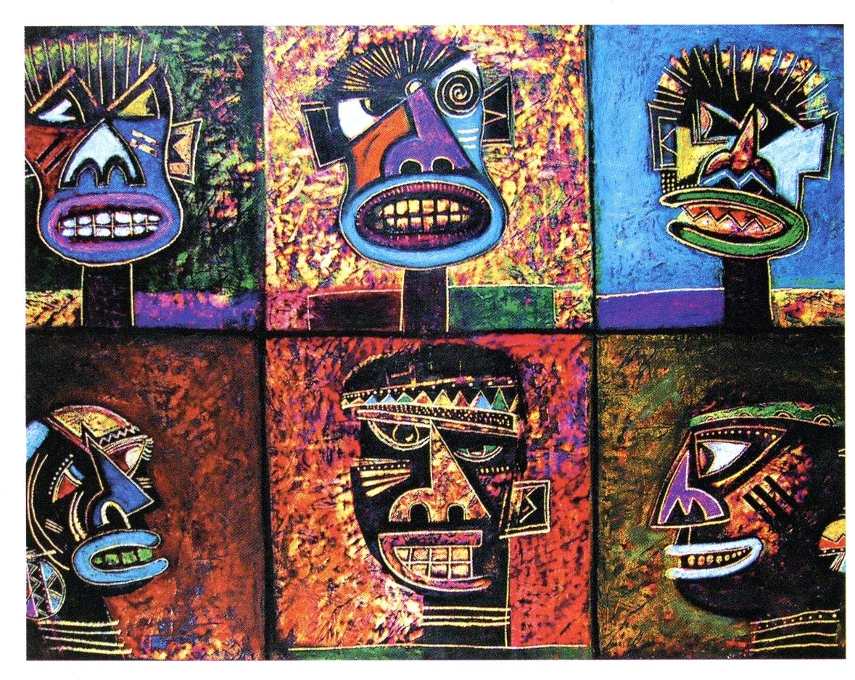 <em>Talking Masks</em>, oil pastel, 70 x 100cm, 2001