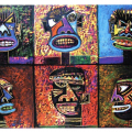 <em>Talking Masks</em>, oil pastel, 70 x 100cm, 2001