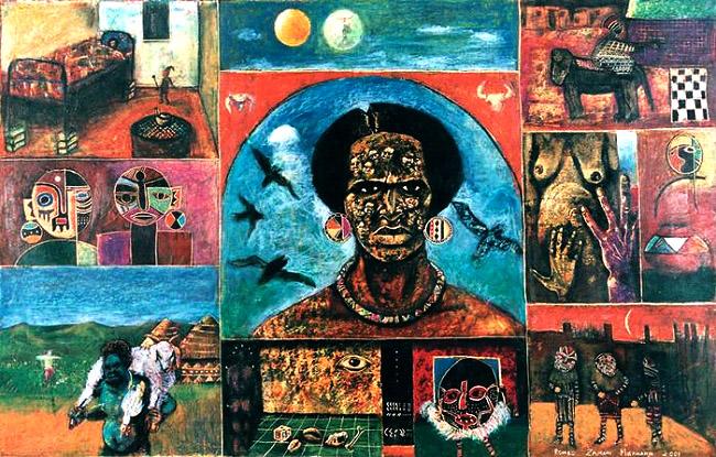 <em>Power of the spirit</em>, 2001. oil pastel on paper, 635 x 99 cm
