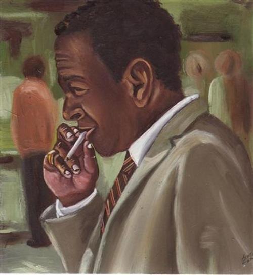 2009, Smoker, Oil on board, 18x18cm